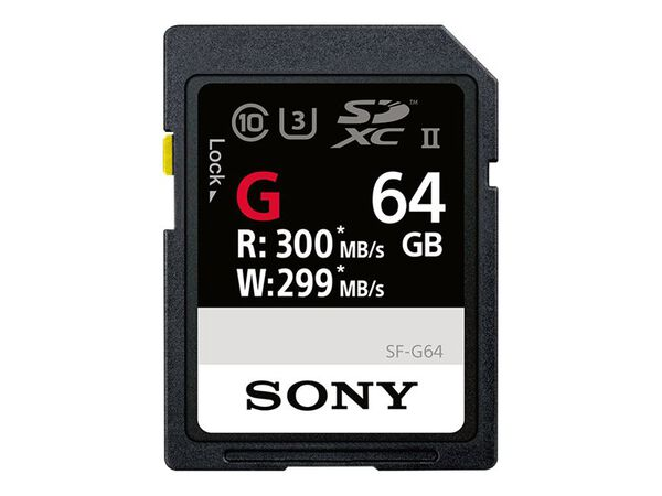 Sony SF-G Series SF-G64 - flash memory card - 64 GB - SDXC UHS-IISony SF-G Series SF-G64 - flash memory card - 64 GB - SDXC UHS-II, , hi-res