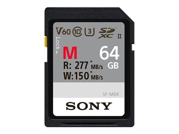 Sony SF-M Series SF-M64 - flash memory card - 64 GB - SDXC UHS-IISony SF-M Series SF-M64 - flash memory card - 64 GB - SDXC UHS-II, , hi-res