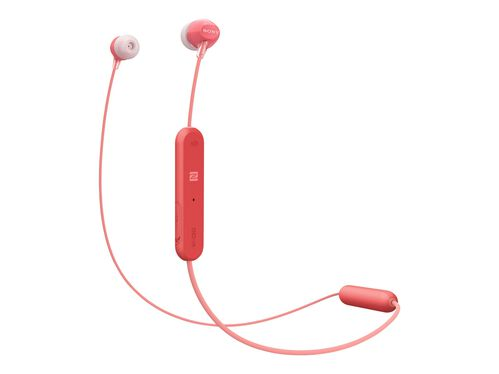 Sony WI-C300 - earphones with mic, Red, hi-res