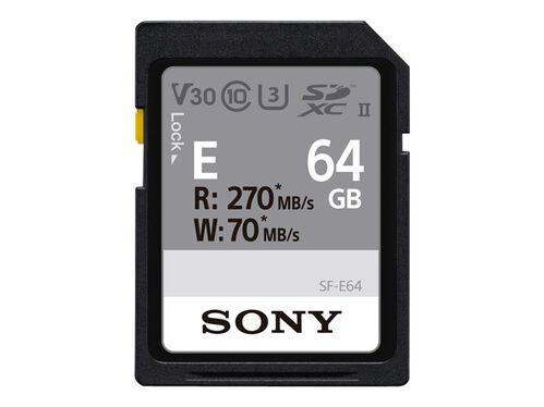 Sony SF-E Series SF-E64 - flash memory card - 64 GB - SDXC UHS-II, , hi-res