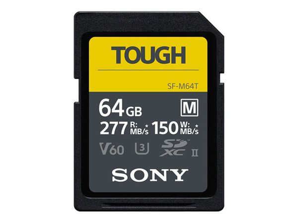 Sony SF-M Series Tough SF-M64T - flash memory card - 64 GB - SDXC UHS-IISony SF-M Series Tough SF-M64T - flash memory card - 64 GB - SDXC UHS-II, , hi-res