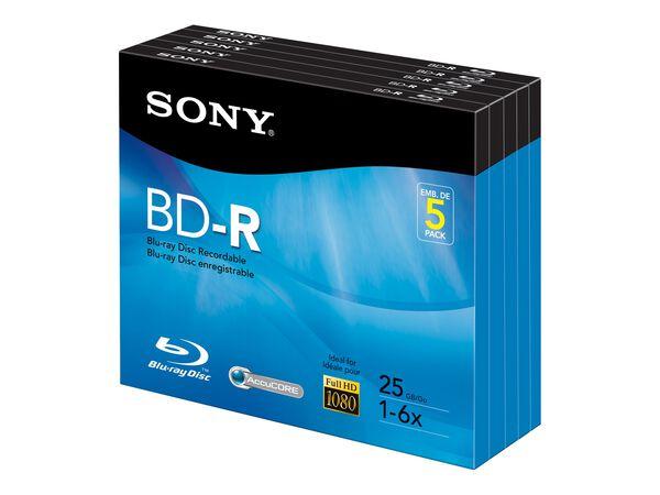 Sony 5BNR25R3H - BD-R x 5 - 25 GB - storage mediaSony 5BNR25R3H - BD-R x 5 - 25 GB - storage media, , hi-res